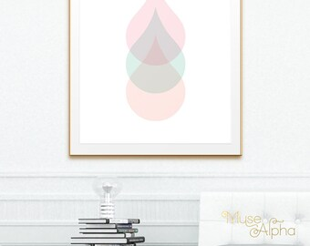 Peach Coral Print, Coral Peach Print, Pastel Mint Print. Circle Print, Rain Drop Print. Pink Wall Decor, Coral Wall Decor, Peach Wall Decor