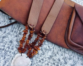 Rustic  Moose Leather - Amber - Deer Antler Burr - Necklace by Stacy  Leigh