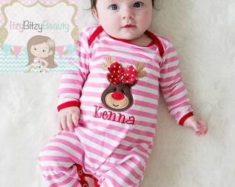 Pink Reindeer Christmas Pajamas - Pink And Red Stripes - Girls Christmas Romper - Embroidered Personalized Monogram Newborn Baby