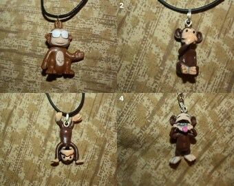 Monkey Accessories - Necklaces, Cell Charms, Keychains, Audio Jack Plugs, and Earrings