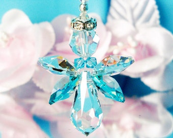 Guardian Angel Rear View Mirror Charm Swarovski Crystal Car Accessories Hanging Crystals Car Mirror Charms