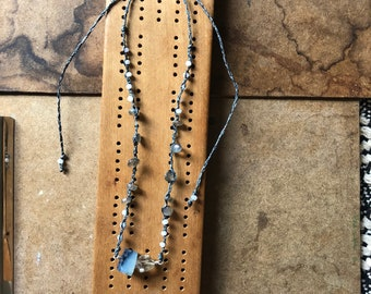 Balance - Handwoven Necklace with Blue Opal and Rutilated Quartz Pendant with Labradorite