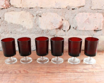 Vintage shot glasses, set of 6 glasses, luminarc oxblood glass 70s
