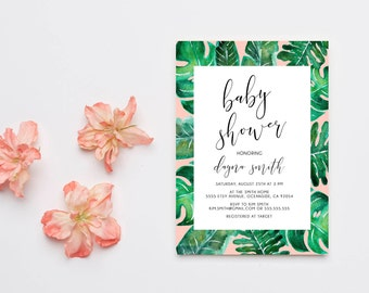 Girl Baby Shower Invitation, Palm Leaf, Tropical, Printable Invite (1115)