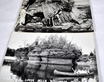 Lot of 2 Lower Dells, Wisconsin Postcards - Souvenir Real Picture Post Cards RPPC - Native Americans -Lone Rock - Baby Grand Piano