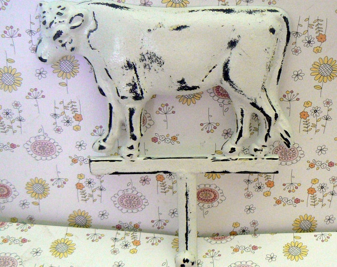 Cow Wall Hook Shabby Chic White Farmhouse Barnyard Animal Hook