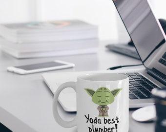 Plumber Mug - Funny Best Plumber Mug - Star Wars Mug - Yoda Collectors - Yoda Best Plumber Pun Mug