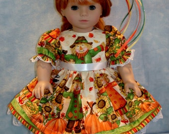 18 Inch Doll Clothes - Fall Scarecrow II Dress and Hat handmade by Jane Ellen to fit 18 inch dolls