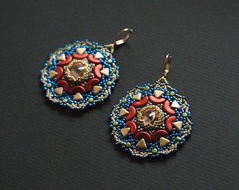 Mandala Earrings, Beaded Swarovski Earrings, Beaded Rosette Earrings, Luxurious Earrings, Boho Chic Dangles, Turquoise Golden Earrings