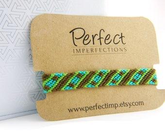 Green Brown Handwoven Thin Macrame Friendship Bracelet Wrap / Great Gift Best Friends / PerfectImp String Bracelets / Stripe Chevron Pattern