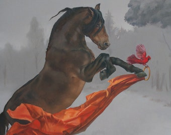Brass Ring - horse and cardinal - 8 x 10 art print of an oil painting - equestrian art