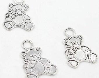 5 charms bear / bear / Teddy bear, silver, 27 x 19 mm, set of 5