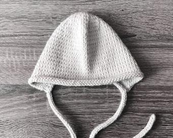Harlow Knit Bonnet, Knit Baby Bonnet, Newborn Bonnet, Vintage Baby Bonnet, Gender Neutral Bonnet, Newborn Photo Prop, Baby Shower Gift