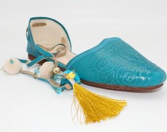 Boho leather flats women/teal leather flats/greek shoes/pom pom leather ballet flats
