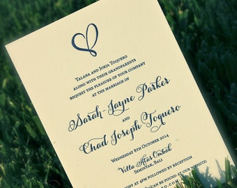 Letterpress Wedding Invitations Navy Hearts DEPOSIT
