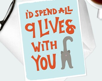 CUTE LOVE CARD for cat lover. Funny romantic greeting card for crazy cat lady. Anniversary, birthday gift for him or her. Grey cat bum.