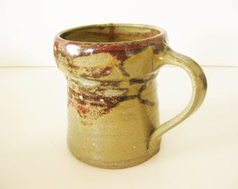 Coffee Cup Art Pottery Mug Ceramic Vintage Coffee Mug Tea Hand Thrown Brown Tan Beige Coffee Tea Connecticut Artist Vintage 1970's Art Craft