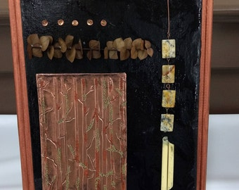 Collage Abstract Art Copper Black and Jasper Stones Art Wall Hanging Mixed Media Art Original collage Home Decor 12 x 9 canvas Gift for dad