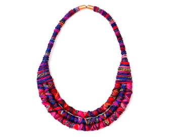 Colorful Fabric Rope Bib Necklace For Women, Unique Textile Statement Necklace For Her, Fiber Art Jewelry