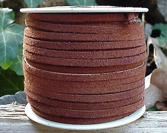 LACE LACING LEATHER Suede Med Brown 25 Yards