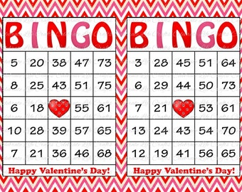 30 Valentines Bingo Cards - Valentine Party Game - Instant Download - Printable Bingo Game - School Valentine's Day Pink Red Chevrons - V019