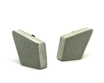 Concrete earrings diamond shape 15 x 25 mm