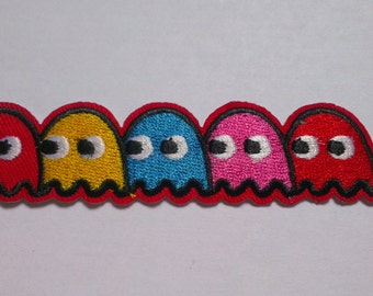 Pacman Game Iron on Applique, Pacman Iron on Patch, Colorful Iron-on Application