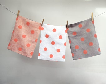 Coral Polka Dot hand block printed modern white natural gray peach linen pillow case colorful decorative pillow home decor