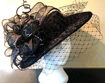Large black Statement Sinamay Boater hat with Embroidered bows, Wedding Fascinator, Wedding hat, Races hat, Races Fascinator