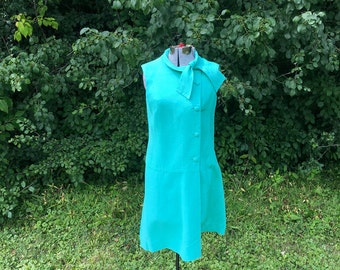 Vintage Linen Secretary Dress // Teal 1960s Button Front Sheath Dress // Womens Halloween Costume Mad Men Size Medium Large