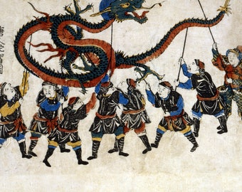 Chinese Dragon Dance - Japanese Wood-Cut (Art Print - Multiple Sizes Available)
