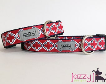 Red and Navy Blue Nautical Bristol Tile Dog Collar