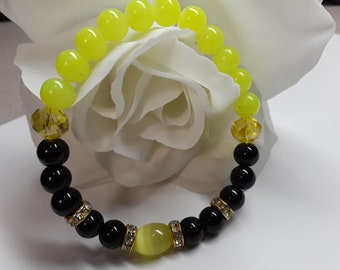 Women Round Black and Yellow Glass Bead  6 MM with Yellow Crystal Cat's Eye with Metal Spacers. Size 7 and 7 1/2
