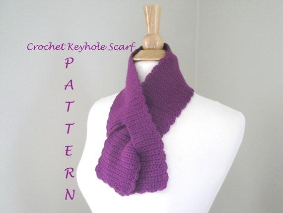 Items Similar To Crochet Keyhole Scarf Easy Pdf Pattern Neck