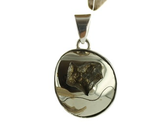 Silver Pendant with Pyritized Ammonite cabochon. Natural Stone. Gemstone pendant.  Fossil pendant. Ammonite jewels. Fossil necklace.