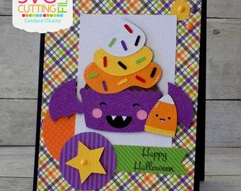 Happy Halloween, Bat Cupcake Card, Candycorn