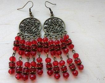 Red bronze earrings Long bohemian earrings Beaded vintage jewelry Bead dangle earrings Drop earrings Statement earrings Christmas gift