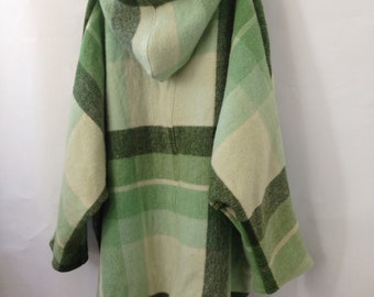 Wool Jumper with pompoms Womens Clothing in Small Forest Green Check Wool Dipped Hem oversized size large