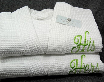 His and Hers Monogram Bathrobes, Couples Personalized Robes, Cotton 2nd Anniversary Gift, Mens Womens Bathrobes, Set of 2 Robes