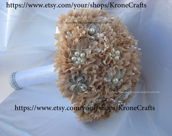 full price ON SALE! champagne brooch Bouquet, broach Bouquet , bouquet, bouquet de fleur, brosche bouquet