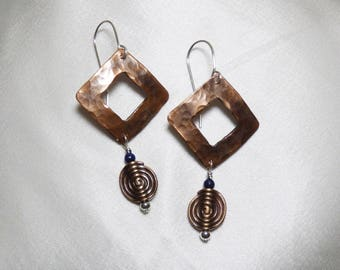 Copper Diamond-Shaped Earrings with Spiral Bead
