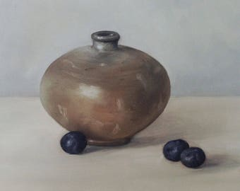 """Original oil painting: Vase with Blueberries 6x6"""""""