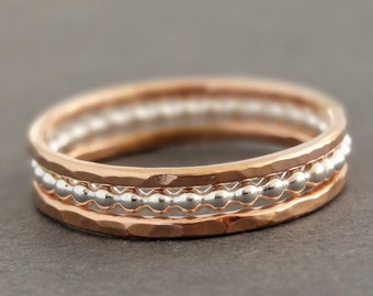 Rose Gold Rings and Sterling Silver Ring Stacking Rings black friday sale mixed metal stack rings