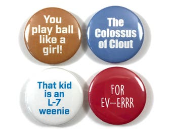 """Sandlot Movie Quotes Fan Art 5 - 1"""" or 1.25"""" Inch Button Pin Badge Pinback Set"""