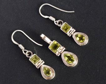 Stylish Jewellery Natural Green Peridot Gemstone Pendant Earring Set, 925 Solid Sterling Silver, Anniversary Gift, Girls Jewelry, FSJ-2183