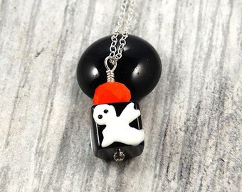 Ghost Necklace • Halloween Necklace • Fall Necklace