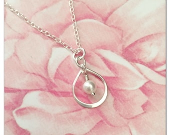 Pearl Infinity Necklace - Silver Infinity Pendant Pearl Necklace - Eternity Charm Necklace - Pearl Bridesmaid Jewelry - Ivory Pearl Necklace