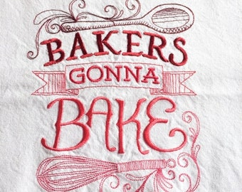 mothers day sale kitchen towel bakers gonna bake - Bakers Gonna Bake Kitchen Redwork Embroidery Designs
