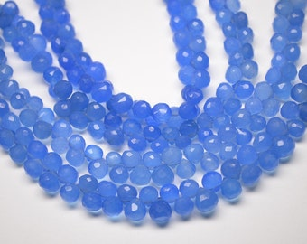 """AAA-8"""" Strand-7-8mm-Beautiful Natural Sky Blue Chalcedony Faceted Onion Shape Briolette Beads"""