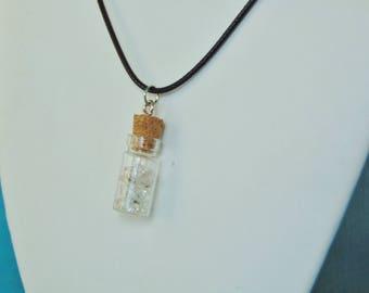 Herkimer Diamond Natural Gemstone Glass Vial Pendant Necklace